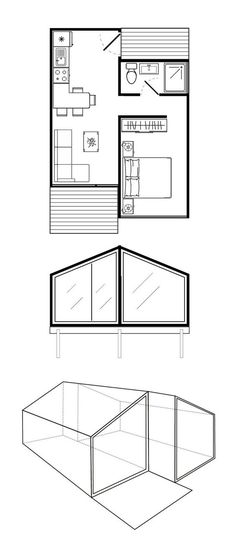 Extend bedroom wall to add extra closet closets in bedroom) and reading chair nook. Tiny House Cabin, Cabin Homes, Small House Plans, House Floor Plans, Container Home Designs, Container House Plans, Small House Design, Cabin Plans, House Layouts