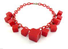 Vintage 1930s Art Deco Geometric Design Dangling Cubes Red Bakelite Necklace
