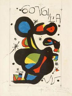 """Joan Miró Proyecto para la Litografía """"60 Volta"""" (Pieza única) Tinta y lápiz sobre Litografía Año: 1980 Dimensiones: 76,3 x 56,4 cm Firmada en la parte inferior en gouache Con anotaciones en los márgenes realizadas a mano por el propio Joan Miró Certificada por ADOM (Association pour la défense de l'oeuvre de Joan Miró), Paris, 7 December 1999 Enmarcada Precio: Consultar Web  Más información: galeria@grabadosylitografias.com"""