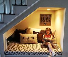 Constructing a reading nook doesn't have to be hard. Give these 4 DIY reading nook projects a try! Staircase Storage, Staircase Design, Staircase Ideas, Under Stairs Nook, House Stairs, Basement Stairs, Reading Nook, Basement Remodeling, Home Decor Furniture