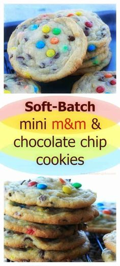 Soft-Batch Mini M&M & Chocolate Chip Cookies! Soft, fluffy, bakery style, really, really good cookies with random mini chocolate chips and mini M&M's in every bite. Just Desserts, Delicious Desserts, Yummy Food, Tasty, Baking Recipes, Cookie Recipes, M&m Cookie Recipe, Rice Recipes, Seafood Recipes
