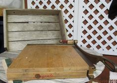 """Vintage Ingento No. 5 Cast Iron School Industrial Paper Cutter 16"""" Guillotine Wood Base by EvenTheKitchenSinkOH on Etsy"""