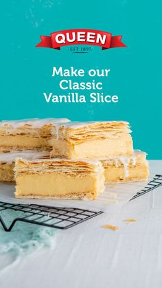 Baking Recipes, Cake Recipes, Dessert Recipes, Australian Vanilla Slice Recipe, Delicious Desserts, Yummy Food, Tasty, Aussie Food, Love Food