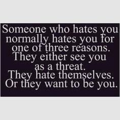Very well said!! I see no one as a threat, I love myself way to much, and wouldn't won't anyone else's life... :)