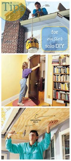 Tips for Easier DIY When You Work by Yourself: Don't let working solo slow you down. Here's how to get the job done without a helper. http://www.familyhandyman.com/smart-homeowner/home-safety-tips/tips-for-easier-diy-when-you-work-by-yourself