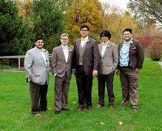 vintage wedding, barn wedding, brown suits, suspenders, yellow bow ties, groomsmen, mismatched