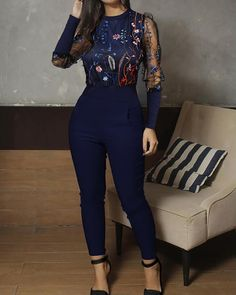 Mesh Floral Embroidery Jumpsuit Find More Stylish Women Swimwear, Dresses, Jumpsuits, Sets, Tops & Bottoms. Embroidery Fashion, Floral Embroidery, Trend Fashion, Womens Fashion, Gothic Fashion, Style Fashion, Printed Jumpsuit, Lace Sleeves, Jumpsuits For Women