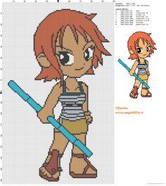 Nami (One Piece)  patrón punto de cruz
