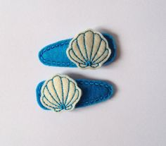Cream and teal Seashell felt snap clip barrettes by PJSEMBROIDERY, $5.50