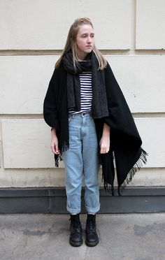 Becca H - Dr. Martens Black Doc, Vintage Denim Mom Jeans, Urban Outfitters White & Blue Striped Shirt, Zara Grey Scarf, Gina Tricot Black Poncho - Wow