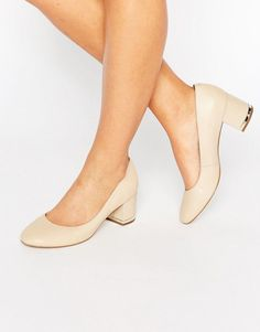 ALDO Falia Leather Block Mid Heeled Shoes - Beige