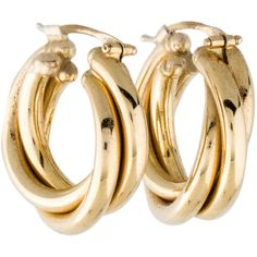Pre-owned 18K Yellow Gold Earrings (€610) ❤ liked on Polyvore featuring jewelry, earrings, 18k jewelry, gold jewellery, yellow gold hoop earrings, 18k earrings and gold earrings