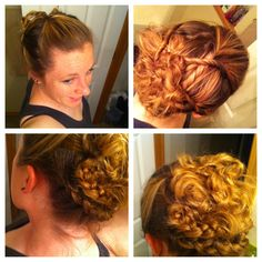 A sideways French braid wrapped underneath half of my hair that was twisted/pinned-just playing with a new variation...I had originally had the bottom half of hair down, but decided to braid and pin it up later that day.