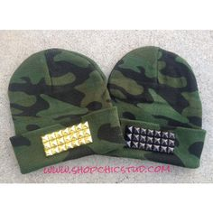 Studded Beanie Hat Camo Print Gold Or Silver or Black Studs ($28) ❤ liked on Polyvore featuring accessories, hats, beanie, camo, black, camo hat, camouflage beanie hat, beanie cap hat, camouflage beanie and silver hat