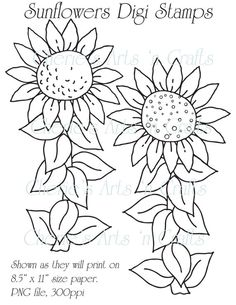 Digi Stamps, Sunflowers, Line Art, Clip Art, Printables, You Print Color and Cut, Original Downloadable Digital Art