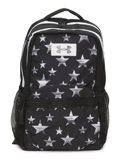 product description - star pattern, brand logo, quilted back panel, adjustable backpack straps, top handle, laptop sleeve, two compartment design - 16in W x 19.5in H - zip closure - 2 interior pockets