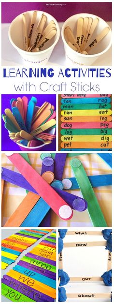Roundup of amazing learning activities for kids to do with craft sticks! Play Based Learning, Kids Learning Activities, Learning Through Play, Learning Tools, Hands On Activities, Kindergarten Activities, Educational Activities, Fun Learning, Popsicle Stick Crafts