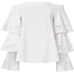 Intermix Women's Jiho Off Shoulder Tiered Sleeve Top (4.400 ARS) ❤ liked on Polyvore featuring tops, blouses, shirts, blusas, white, long sleeve blouse, off the shoulder blouse, long sleeve tops, white off shoulder blouse and off the shoulder shirts