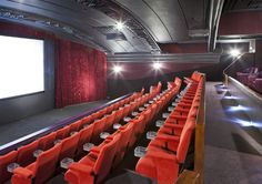 Having a local cinema is just the best! - The Regal Cinema, Melton Mowbray (arch: Bill Chew Architect Ltd) London Home Decor, Cinemas In London, Kew Gardens London, Cinema Chairs, Local Cinema, Small Media Rooms, Padded Wall, Outdoor Cinema, Room Screen