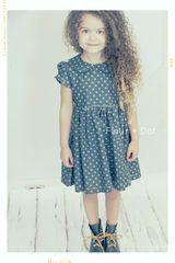 Polka dot denim toddler girl dress.