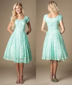 Mint Green Bridesmaid Dresses 2016 Lace Scoop Capped Sleeves Knee Length Wedding…