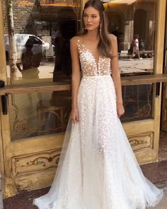 """Muse by Berta """"Demi"""". Collection """"Barcelona"""" 2019 Gorgeous Embroidered A-Lane Wedding Dress / Bridal Gown with Deep V-Neck Cut, Open Back Illusion and Tulle Train. Collection """"Barcelona"""" 2019 by Muse by Berta Backless Lace Wedding Dress, Tulle Wedding, Dream Wedding Dresses, Bridal Dresses, Lace Dresses, Wedding Bride, Tulle Skirt Wedding Dress, Popular Wedding Dresses, Diy Wedding Dress"""