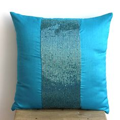 Decorative Throw Pillow Covers Accent Pillow Couch 20x20 Inches Pillow Cover Silk Dupioni Embroidered Aqua Center Bedroom Bedding Housewares...