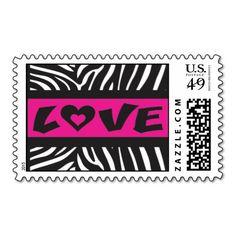 Zebra Stripe with Fuschia Love Stamp