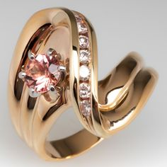58f07edfec7e Orange Pink Natural Topaz   Diamond Vintage Ring 14K Gold. Our Estate  Jewelry ...
