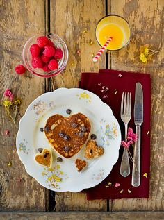 A completely charming, sweetly satisfying way to begin Valentine's Day. #Valentines #hearts #breakfast #brunch #pancakes #food #chocolate_chips