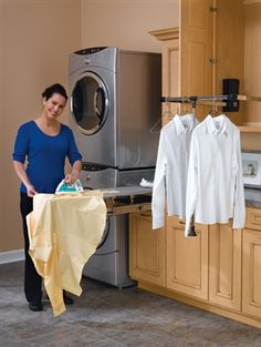 Traditional Laundry Room Small Laundry Room Design, Pictures, Remodel, Decor and Ideas - page 42 Small Laundry Rooms, Laundry Room Organization, Laundry Room Design, Pull Out Ironing Board, Ironing Boards, Laundry Drying, Hanging Clothes, Clothes Hanger, Closet Rod