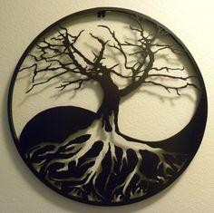 Yin-Yang Tree of Life Metal Wall Art. $225.00, via Etsy. (Love the shadow it casts too!)