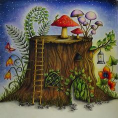 Enchanted Forest / Johanna Basford mushroom ... I used polychromos pencils to colour this