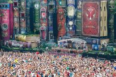One of the world's largest music festivals, Belgium's Tomorrowland stage is filled with a library of gigantic fairy tale books to create magic. Via BuzzFeed.com.