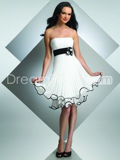US $139.99 Free Shipping A-line Strapless Sleeveless Knee-length Chiffon Cocktail Dresses/Homecoming Dress