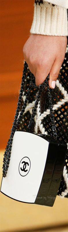 Chanel.~ Fall Black+White Patent Leather Bag w double chain 2015.