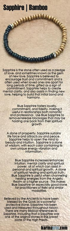 NEW LOVE:    Sapphire is the stone often used as a pledge of love, and sometimes known as the gem of new love. #Sapphire is often gifted as a sign of commitment.      #Beaded #Beads #Bijoux #Bracelet #Bracelets #Buddhist #Chakra #Charm #Crystals #Energy #gifts #gratitude #Handmade #Healing #Healing #Jewelry #Kundalini #Law Of Attraction #LOA #Love #Mala #Meditation #Mens #prayer #pulseiras #Reiki #Spiritual #Stacks #Stretch #Womens #Yoga #YogaBracelets