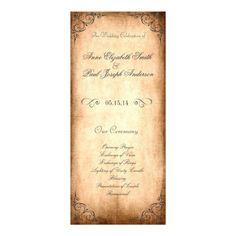 Rustic Vintage Wedding Program Customized Rack Card