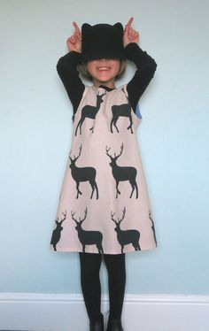 Upcycled Stag fabric lined pinafore dress