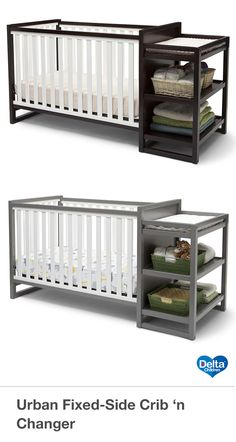 Designed with clean lines and a contemporary two-tone finish, the Urban Crib 'n Changer from Delta Children helps create a space worthy of pint-sized modernists. Featuring an attached changing station that includes a changing pad, safety strap, secure rails and open shelves for easy organization, this JPMA certified Crib effortlessly converts from a multi-positional crib to a toddler bed, daybed and full size bed -it could very well be the only bed your child will ever need! #crib…