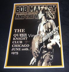 Bob Marley & The Wailers concert poster The Quiet Knight Club Chicago 1975 repro