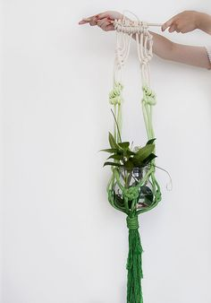 Green macrame plant hanger dyed plant hanger pot by ScoutGathers