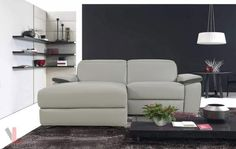 AURA TOP GRAIN LIGHT GREY POWER RECLINING SMALL SECTIONAL SOFA WITH LEFT FACING CHAISE