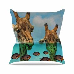 """Suzanne Carter """"Larry & Fred Periscope"""" Mixed Media Animals Throw Pillow"""