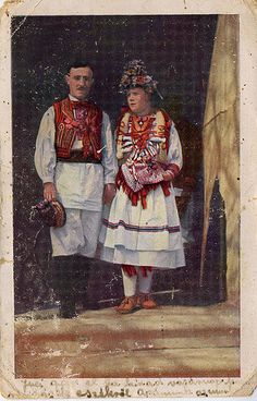Postcard featuring Croatian traditional costume, from near zagreb