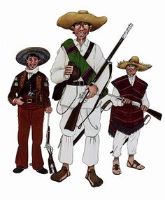 The Mexican Adventure: Uniforms: Republican Army 1. Plateados. 2. Republican guerrilla. 3. Republican guerrilla wearing sarape