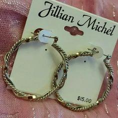 """Hoop earrings Silver tone hoop earrings. Measure about 1.5"""" in diameter. NWT Jillian Michel Jewelry Earrings"""