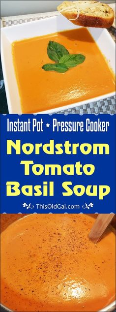 Pressure Cooker Nordstrom Tomato Basil Soup (Tomato Bisque) This Pressure Cooker Nordstrom Tomato Basil Soup is rich and creamy, just like you get at the famous Nordstrom Restaurant. Instant Pot Pressure Cooker, Pressure Cooker Recipes, Pressure Cooking, Slow Cooker, Rice Cooker, Tomato Basil Bisque, Creamy Tomato Basil Soup, Soup Recipes, Cooking Recipes