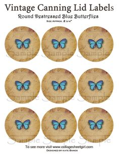 Canning jar labels with vintage butterfly  Design. print them yourself so you have as many as you need.