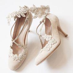 Secret Garden Flower Bridal Hair Halo in Blush Emmy London with Blossom Bridal Shoes
